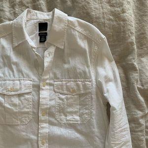 H&M white linen button down shirt